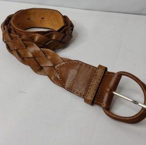 "🔑New! Tan Braided Leather Belt 37"""